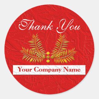 El negocio personalizado rojo le agradece los pegatinas redondas