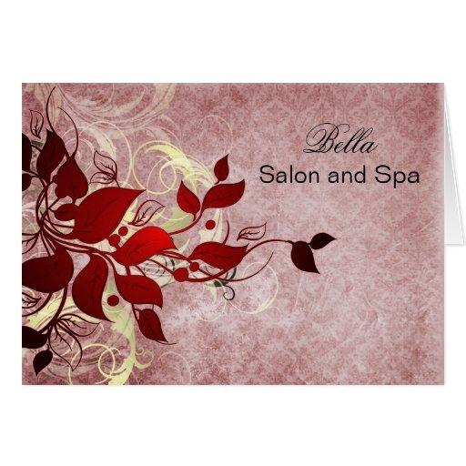 el negocio rojo elegante del flourish le agradece tarjeta de felicitación