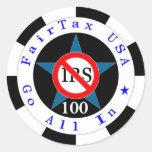 El negro 100 entra todos para un impuesto etiqueta redonda