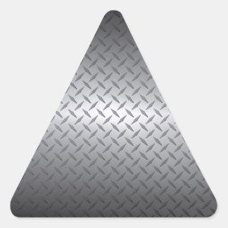 El negro al acero brillante se descolora fondo de pegatina triangular