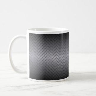 El negro al gris se descolora fondo del acero de taza clásica