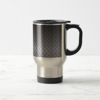 El negro al gris se descolora fondo del acero de taza de viaje