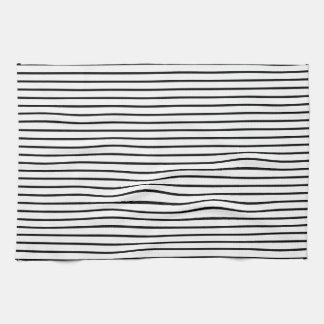El negro alinea blanco toalla de cocina