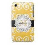 El negro amarillo personalizado remolina damasco f Case-Mate iPhone 3 cárcasa