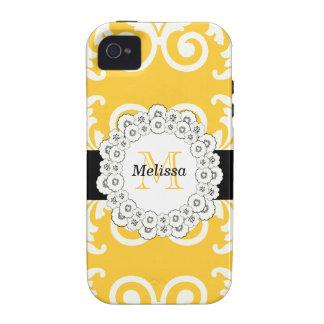 El negro amarillo remolina casamata floral del iPh iPhone 4/4S Funda