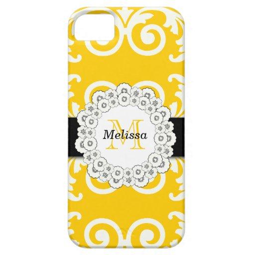 El negro amarillo remolina casamata floral del iPh iPhone 5 Case-Mate Protectores