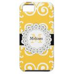 El negro amarillo remolina casamata floral del iPh iPhone 5 Coberturas