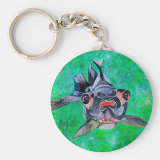 El negro amarra el Goldfish Llavero Redondo Tipo Pin