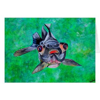 El negro amarra el Goldfish Tarjeta De Felicitación