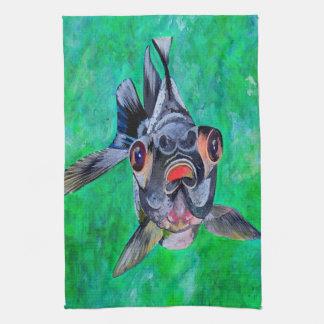 El negro amarra el Goldfish Toallas De Mano