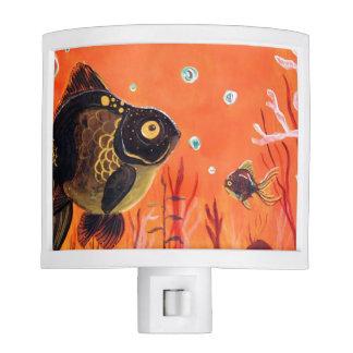 El negro amarra el Nightlight del Goldfish Lámpara De Noche