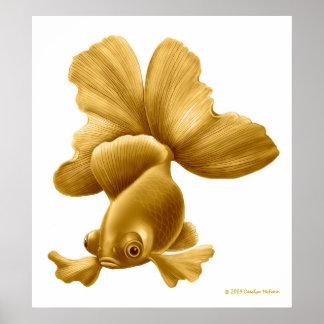 El negro amarra la impresión del Goldfish Póster