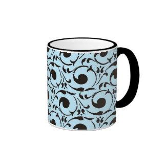 El negro azul del damasco elegante remolina modelo taza a dos colores