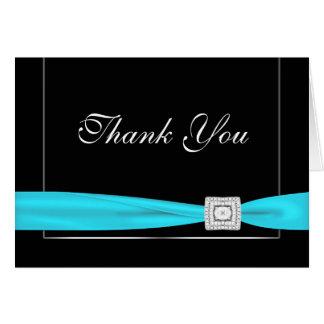 El negro azul del trullo del diamante le agradece tarjeta pequeña