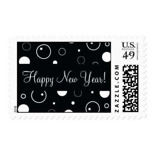 El negro burbujea franqueo de la Feliz Año Nuevo