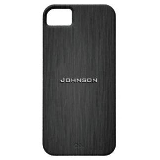 El negro cepilló la mirada de madera con el nombre iPhone 5 Case-Mate carcasa