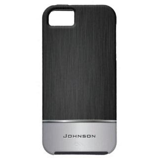 El negro cepilló mirada del metal con la barra de  iPhone 5 Case-Mate coberturas