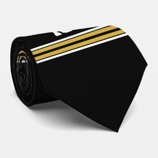 El negro con blanco del oro raya el jersey de corbatas