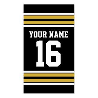 El negro con blanco del oro raya el jersey de tarjetas de visita