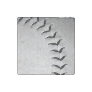 El negro cose béisbol/softball imán de piedra