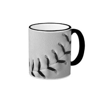 El negro cose béisbol/softball taza de café