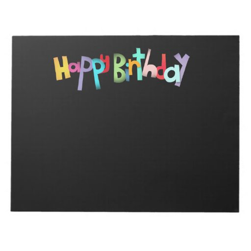 El negro cubre feliz cumpleaños bloc de notas