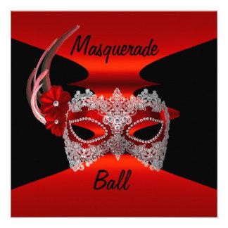 El negro de seda rojo de las máscaras de la bola d invitación