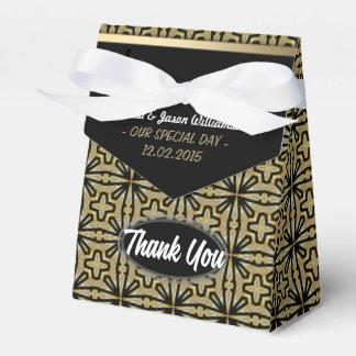 El negro del oro del vintage geométrico le cajas para detalles de boda