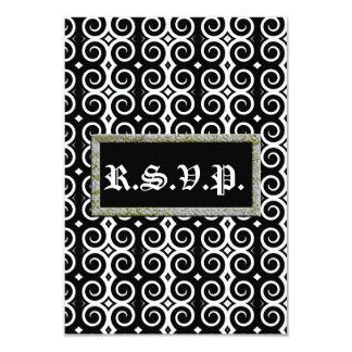 """El negro distintivo remolina (el boda) invitación 3.5"""" x 5"""""""