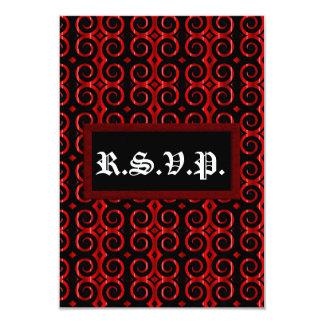"""El negro distintivo remolina (en el rojo) (el invitación 3.5"""" x 5"""""""