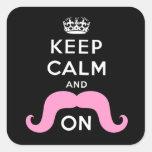El negro divertido, rosa guarda calma y el bigote calcomania cuadrada personalizada