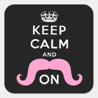 El negro divertido rosa guarda calma y el bigote calcomania cuadrada personalizada