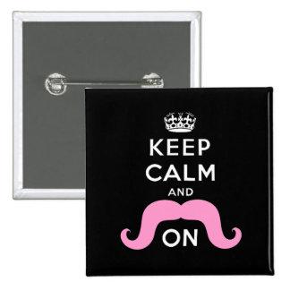 El negro divertido, rosa guarda calma y el bigote  pin cuadrado