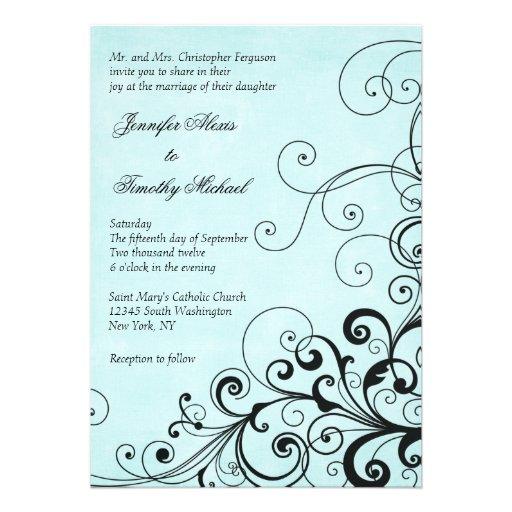El negro elegante elegante remolina invitación del