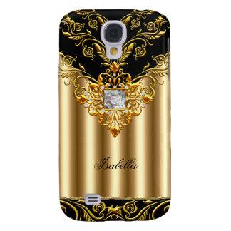El negro elegante en monograma del oro añade nombr funda para galaxy s4