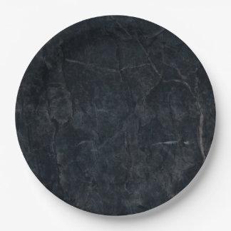 El negro elegante veteó la textura de piedra plato de papel de 9 pulgadas