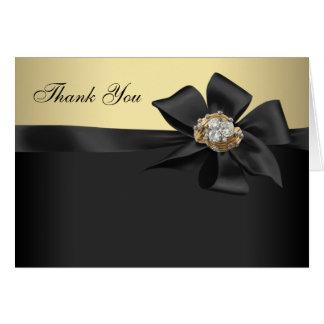 El negro elegante y el oro le agradecen las tarjeta pequeña