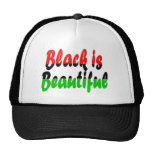 El negro es bandera Cacerola-Africana hermosa Gorros Bordados