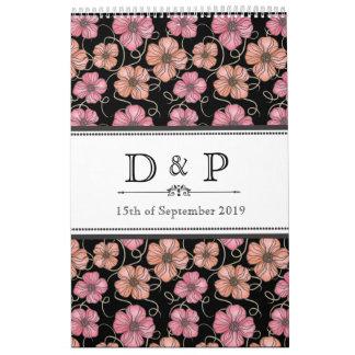 El negro florece Guestbook del boda del monograma Calendario De Pared
