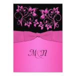 El negro IMPRESO de la CINTA, boda floral rosado Comunicado