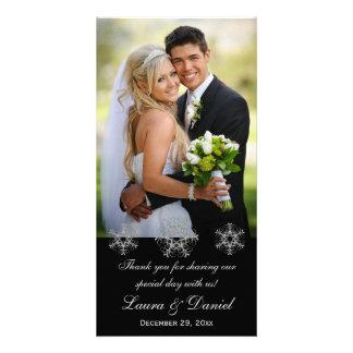 El negro, la nieve de plata forma escamas tarjeta tarjetas fotográficas personalizadas