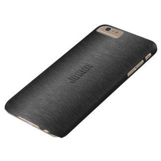 El negro metálico de Monogramed cepilló la mirada Funda De iPhone 6 Plus Barely There