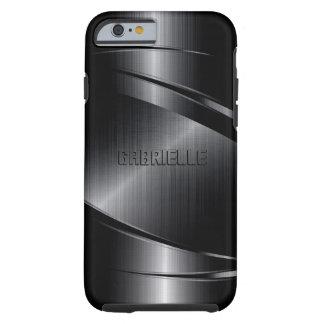 El negro metálico de Monogramed cepilló la mirada Funda De iPhone 6 Tough