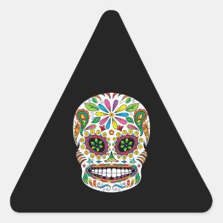 El negro mexicano del cráneo del azúcar del pegatina triangular