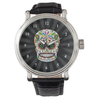 El negro mexicano del cráneo del azúcar del relojes de mano