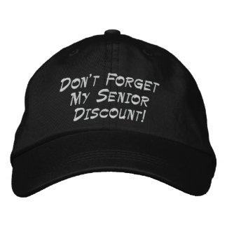 ¡El negro no olvida mi descuento mayor! Gorras De Beisbol Bordadas
