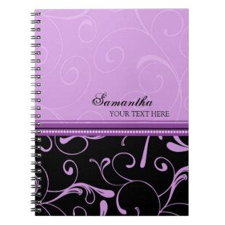 El negro púrpura conocido de encargo remolina libros de apuntes