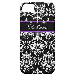 El negro púrpura del damasco femenino PERSONALIZA iPhone 5 Coberturas