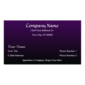 El negro púrpura del diseñador se descolora las ta tarjetas de visita