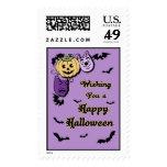 El negro púrpura golpea sellos del feliz Halloween